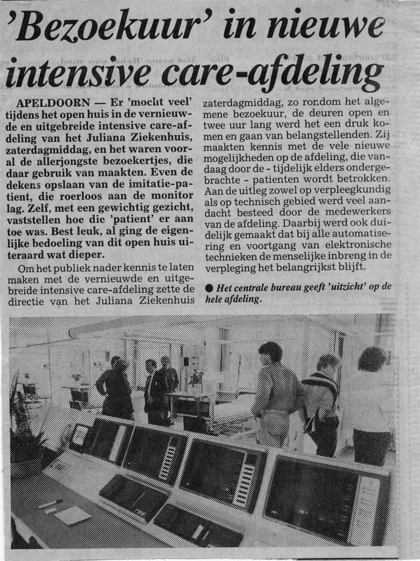 Opening IC Juliana Ziekenhuis Apeldoorn (Krantenartikel)